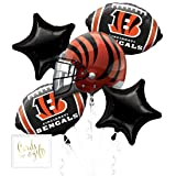 Andaz Press Balloon Bouquet Party Kit with Gold Cards & Gifts Sign, Bengals Football Themed Foil Mylar Balloon Decorations, 1-Set (Color: Sports Bengals)
