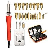 Full Set Wood Burning Kit, LIUMY 24 Pcs/110 V Wood Burning Pyrography Kit Include 22 x Assorted Wood Burning/Carving/Embossing & Soldering Tips, 1 x Wood Burning Pen, 1 x Pen Holder (Color: Red, Tamaño: 110 V)