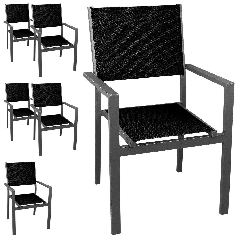 6 Stück Stapelstuhl Gartenstuhl, Aluminium, stapelbar, hochwertige 4×4 Textilenbespannung, grau/schwarz – Gartensessel Bistrostuhl Stapelsessel Balkonmöbel Terrassenmöbel Sitzmöbel Gartenmöbel günstig kaufen