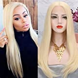 613 Blonde Lace Front Wigs Human Hair for Women Natural Straight Glueless Brazilian Virign Hair Wigs with Baby Hair Real Natural Hairline 14 inch (Color: Lace Front-Straight-#613, Tamaño: 14 inches)