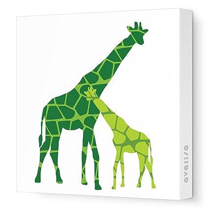 "Avalisa Stretched Canvas Nursery Wall Art, Reticulated Giraffe, Green Hue, 18"" x 18"""