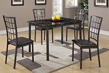 Poundex F2362 Dark Marble Top Table & Black Leatherette Chairs Dining Set