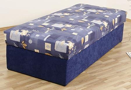 Dreams4Home, Polsterbett, 'Kampen-54', 80, 90, 100, 120, 140x200 cm, blau, Liegefläche:100x200 cm;Komfortvariante:Typ A (bis 140x200)