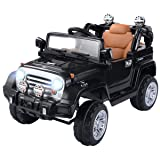 Costzon Ride On Jeep Car, 12V 2WD Powered Truck, Manual/ Parental Remote Control Modes Truck Vehicle with Headlights, MP3 Port, Music, Horn for Kids (Black Jeep) (Color: Black Jeep, Tamaño: 43