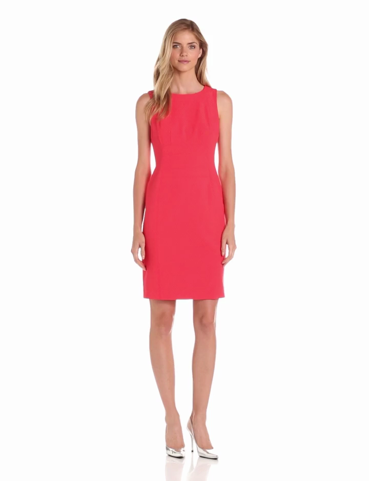 Anne Klein Womens Damier Sheath Dress, Coral, 14
