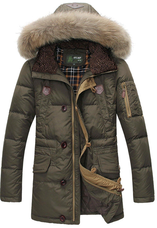 BININBOX® Herren Fashion Daunenmantel Daunenjacke Parka mit abnehmbarer Fellkapuze Wintermantel