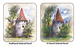 Koh-I-Noor Tri-Tone Multi-Colored Pencil Set, 24 Assorted Colors in Tin and Blister-Carded (FA33TIN24BC) (Color: Multi-Color, Tamaño: 24 Pencils)