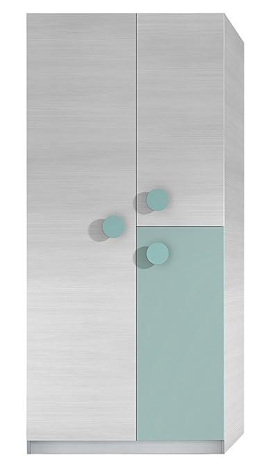Armoire enfant de 3 portes coloris blanc rayé et vert aqua - Dim : L 90 x P 52 x H 200 cm -PEGANE-