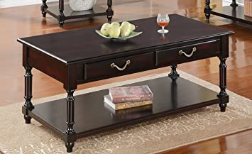 Coffee Table Rich Wood with Gold Handles by Poundex