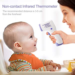 Infrared Forehead Thermometer, Quick and Accurate Digital Thermometer for Baby Adults Pet or Object Surface, Safe and Hygienic with FDA Approved