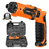 Enertwist Cordless Screwdriver, 8V Max Electric Screwdriver Rechargeable Set with 82 Accessory Kit and Charger in Carrying Case, 21+1 Cluth, 62 In.lbs Torque, Dual Position Handle, LED Light, ET-CS-8 (Color: Orange, Tamaño: Medium)