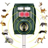 Wikomo Ultrasonic Pest Repeller, Solar Powered Waterproof Outdoor Animal Repeller with Ultrasonic Sound,Motion Sensor and Flashing Light pest Repeller for Cats, Dogs, Squirrels, Moles, Rats (Color: Green)