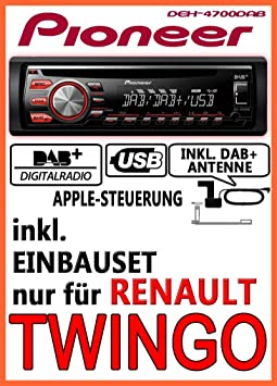 Renault Twingo 1 - Pioneer DEH-4700DAB - DAB CD USB Autoradio inkl. DAB Antenne - Einbauset