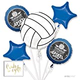Andaz Press Balloon Bouquet Party Kit with Gold Cards & Gifts Sign, Volleyball Sports Party Foil Mylar Balloon Decorations, 1-Set (Color: Sports Volleyball)