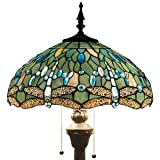 Tiffany Style Floor Standing Lamp 64 Inch Tall Sea Blue Stained Glass Shade Crystal Bead Dragonfly 2 Light Antique Base for Bedroom Living Room Reading Lighting Table Set S147 WERFACTORY (Color: Sea Blue)