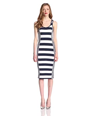 French Connection Women's Fun Stripe Dress, Nocturnal/White, 0