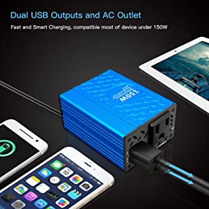 VOLTCUBE 150W Car Power Inverter 12V DC to 110V AC Converter with 3.1A Dual USB Car Adapter (Color: 150W-blue, Tamaño: 150W)