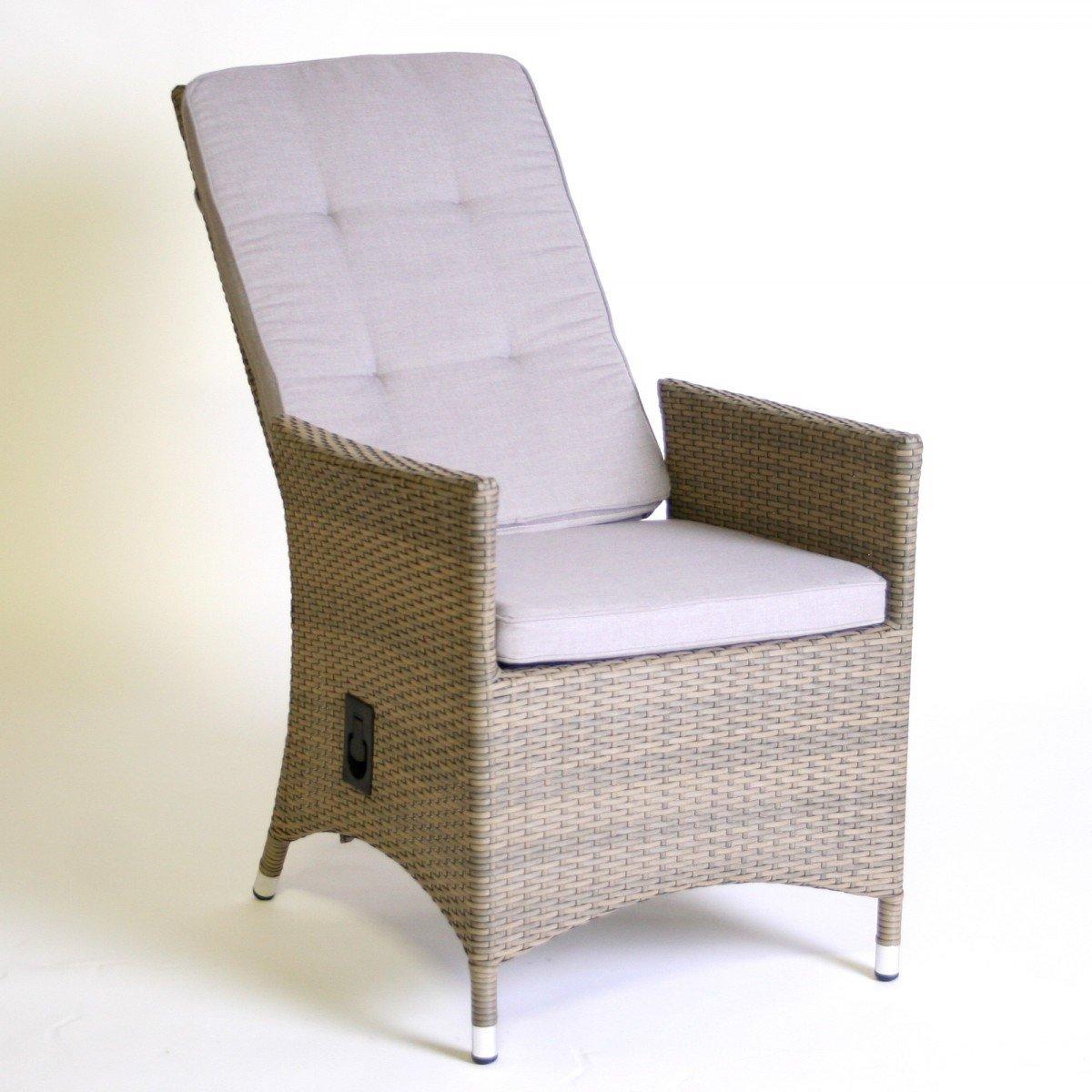 Hochlehner 'Relax' inkl. Polster Gartenstuhl Gartensessel Rattan braun-beige Liegestuhl , Farbe:Beige online kaufen