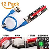 Ubit 12-Pack Multi-Interface (6pin/MOLEX/SATA) PCI-E Riser with Led Notice Function Express Cable 1X to 16X Graphics Extension Ethereum ETH Mining Powered Riser Adapter Card+60cm USB 3.0 Cable (Color: 12PCS Multi-interface Riser)