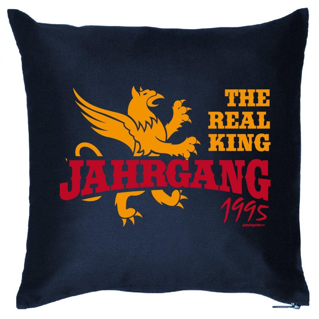 Cooles Couch Kissen zum Geburtstag – The real King Jahrgang 1995 – Sofakissen Wendekissen mit Spruch und Humor günstig bestellen
