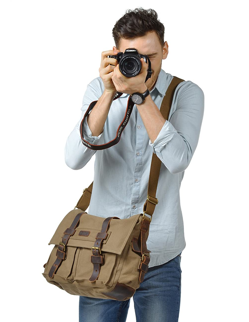 Kattee Men's Canvas Leather DSLR SLR Vintage Camera Messenger Bag 1