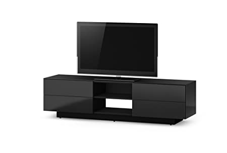 Black Gloss 180cm Ready Assembled TV Stand Cabinet For Up To 80 inch TVs by Sonorous