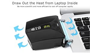 IETS Laptop Fan Cooler with Temperature Display,Side-Draft Portable Intelligent Notebook Radiator,Rapid Cooling, Adjustable Speed Auto-Temp Detection (Color: GT102)