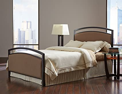 Fashion Bed Group B71615 Gibson Complete Bed with Metal Duo Panels and Brown Sugar Upholstery, Brown Sparkle Finish, Queen Size