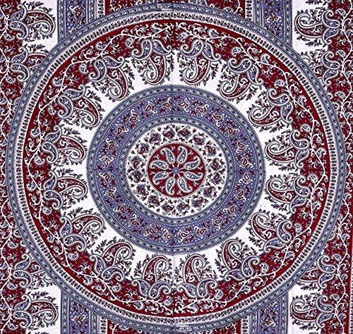 Granate y blanco con diseño de Mandala, indio tapiz de pared hecho a Hippie, de flores de colcha, Mandala algodón dormitorio Decor playa - AndExports