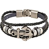 Rock Multilayer Handmade Leather Nautical Anchor Bracelets Men Retro Braided Charm Bracelet (Black)