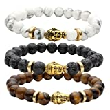 JOVIVI 8MM Unisex Black Lava/Tiger Eye/ Lapis Energy Stone Mala Beads with Gold Buddha Bracelets (Color: Mix stone 3pc)