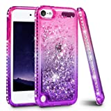 iPod Touch 5 6 7 Case, iPod Touch Case 5th 6th 7th Generation for Girls, Ruky Quicksand Series Glitter Flowing Liquid Floating Bling Diamond Flexible TPU Cute Case for iPod Touch 5 6 7 (Pink Purple) (Color: Pink)