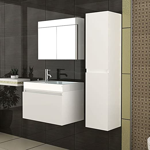 Bathroom Furniture Set/Basin + Countertop/Tall Cupboard/Mirror Cabinet/Lugano Model of 800/Colour White
