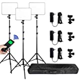 (3 Packs) VILROX Bi-Color 3300K-5600K 30W Dimmable LED Video Light Panel Lighting Kit,CRI 95+ Wide Angel LED Panel with Remote Controller/AC adapter/75 inches Light Stand for Studio Shooting (Color: 3 packs, Tamaño: 3 PACKS)