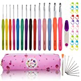 Looen Extra Long Ergonomic Crochet Hook Set with Case Rubber Soft-Touch Handle Grip Knitting Needles Hooks for Arthritic Hands-Good for Crocheting Project (Set 2 of 14) (Color: set 2 of 14)