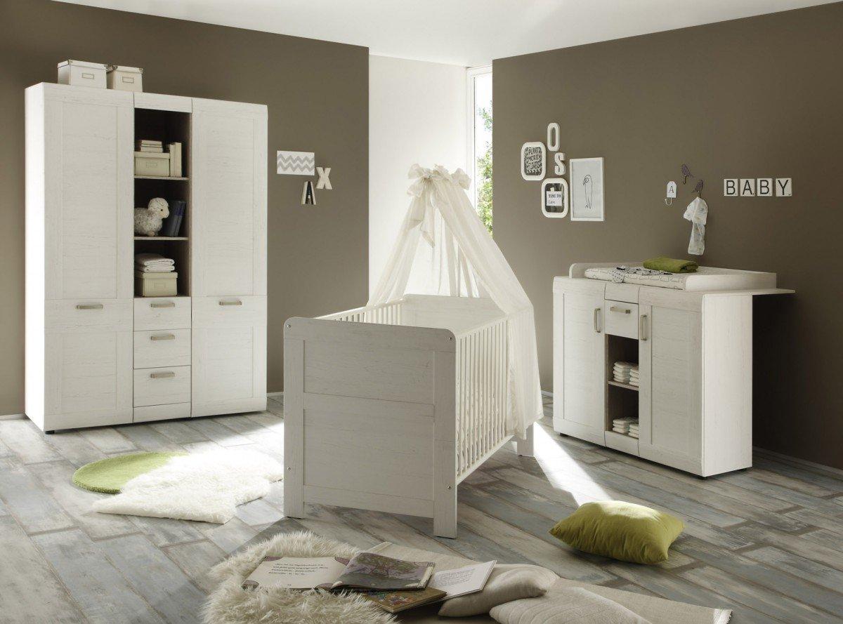 Dreams4Home Babyzimmer Set 'Balou', Babyzimmerkombination,Babyzimmer komplett,Babybett,Wickelkommode,Kleiderschrank,Pinie Struktur weiß