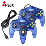 2 Pack N64 USB Controller, miadore USB Retro N64 Gamepad Joystick Raspberry Pi Controller for Windows PC MAC Linux (Clear Blue) (Color: Clear Blue)