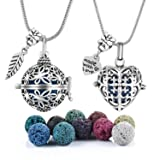 2 PCS Antique Silver Aromatherapy Essential Oil Diffuser Locket Necklace Pendant, Round/Heart Cage Locket Bulk with 10 Lava Stone Rock Beads Balls Set for Necklace Jewelry (Color: 2 PACK)