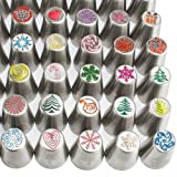 100pc Russian cake tips Special edition! 70 NEW design numbered stainless steel nozzles,2leaf tip, 3-color+ single coupler, 20 pastry bags, 5 silicon cake cups, Christmas tips, largest set! (Color: Stainless Steel, Tamaño: 70 tips (100pc) NEW Special Edition)