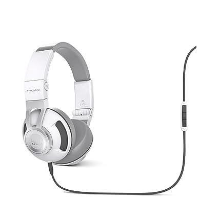 JBL Synchros S300A Casque Audio Stéréo Haut de Gamme  avec Oreillettes Amovibles en Cuir et Commande 3 Boutons et Micro Compatible avec Appareils Android et Apple iOS  Blanc/Argent