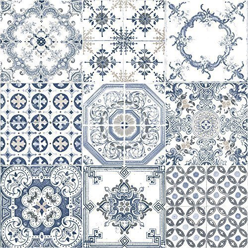 muriva-tile-pattern-retro-floral-motif-kitchen-bathroom-vinyl-wallpaper-blue-j95601