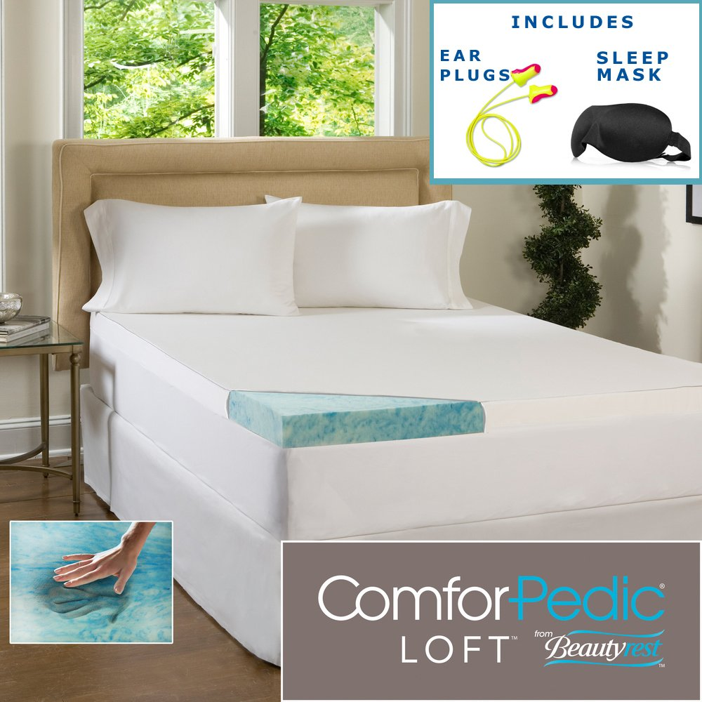 Beautyrest 3-inch Gel Memory Foam Mattress Topper & Waterproof Cover - Queen - Deluxe Mattress Pad For Luxury Bedding. Dive Into Pristine Support And Comfort On Your Bed.