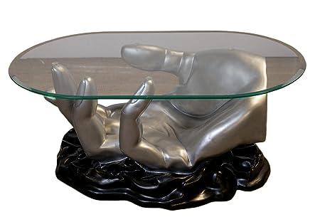 Ovaler Couchtisch Wohnzimmertisch Glastisch Modell Hand Silber Schwarz