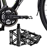 iHomeGarden Bicycle Pedals - Aluminum Alloy Mountain Bike Pedals - Flat Platform Pedals with 16 Anti-skid Pins - Universal 9/16 Inch Road Pedals for BMX/MTB Bike, City Bike Black (Color: Black)