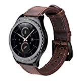 Gear S2 Classic Leather Band, iBazal Vintage Gear S2 Classic Band with Black Clasp Genuine Leather Strap Replacement Band for Samsung Gear S2 Classic Smart Watch SM-R732 - Coffee + Black (Color: 1-Coffee Band + Black Clasp)