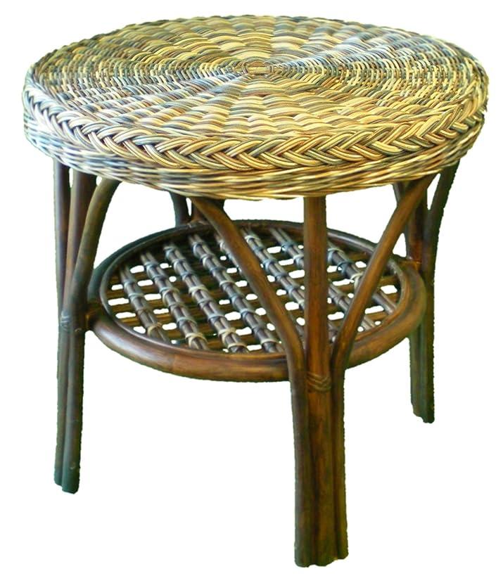 Rotondo a 2piani tavolo in rattan, colore: Multicolore