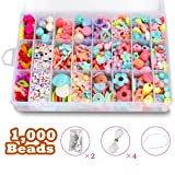 DIY Beads Set with 4 Packs String, 24 Different Types and Shapes Colorful Acrylic Beads in a Box for Children Necklace and Bracelet Crafts by STSTECH,Gift Kit for Kids (Color: Pattern01)