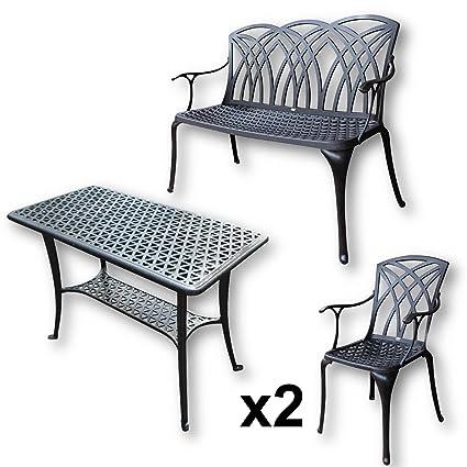 Lazy Susan - Mesa de apoyo para barbacoa, 1 banco APRIL y 2 sillas a juego - Muebles de jardín en fundición de aluminio, color Bronce Antiguo