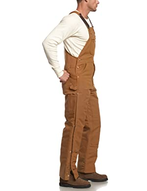 Carhartt Men's Quilt Lined Zip To Thigh Bib Overalls,Brown,34 x 28 (Color: Brown, Tamaño: 34W x 28L)