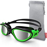 Zionor Swimming Goggles, G1 Polarized Swim Goggles with Mirror/Smoke Lens UV Protection Watertight Anti-fog Adjustable Strap Comfort fit for Unisex Adult Men and Women, Teenagers (Color: A7-G1-Polarized Mirror Lens Black Green, Tamaño: One Size)